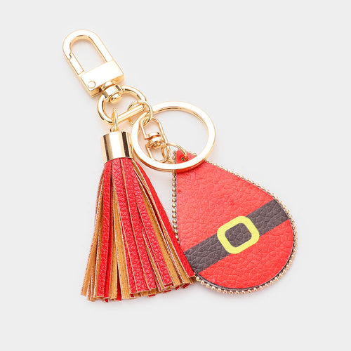 Santa Claus Cloth Print Faux Leather Teardrop Tassel Key Chain