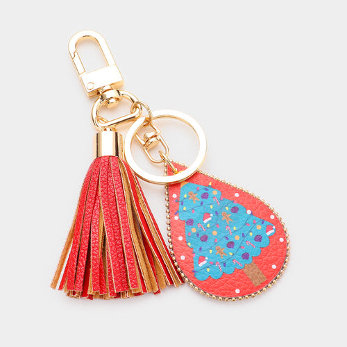 Christmas Tree Print Faux Leather Teardrop Tassel Key Chain