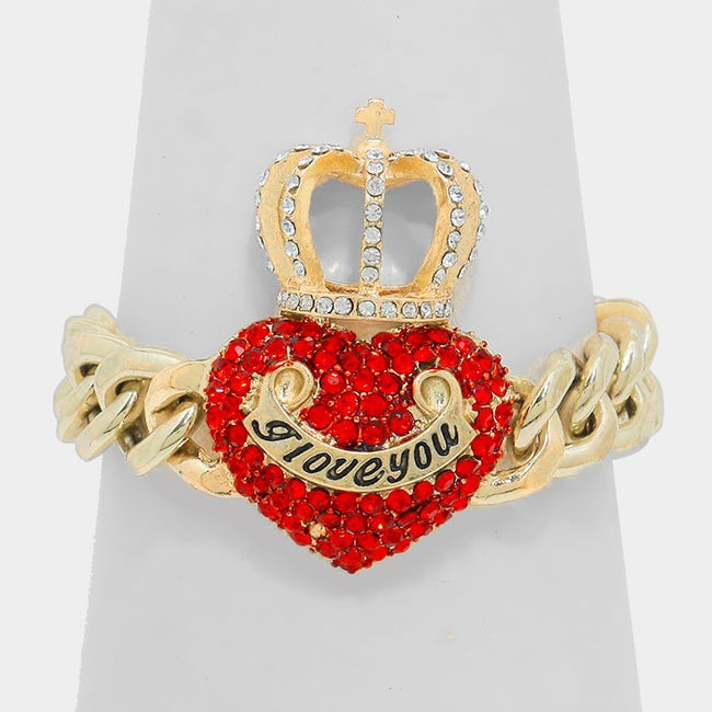 """I Love You"" Crystal Crown Link Toggle Bracelet"