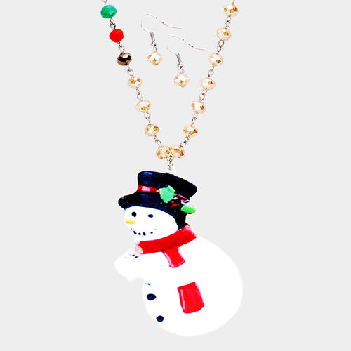 Snowman Printed Bead Pendant Necklace