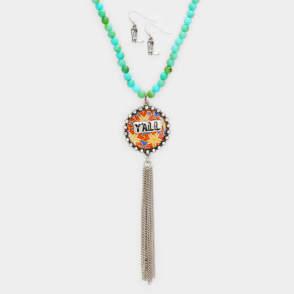 """Yall"" Patterned Round Drop Chain Tassel Necklace"