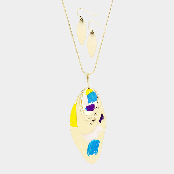Layered Painted Abstract Metal Pendant Long Necklace