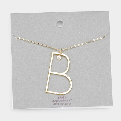 Brass B Monogram Metal Pendant Long Necklace