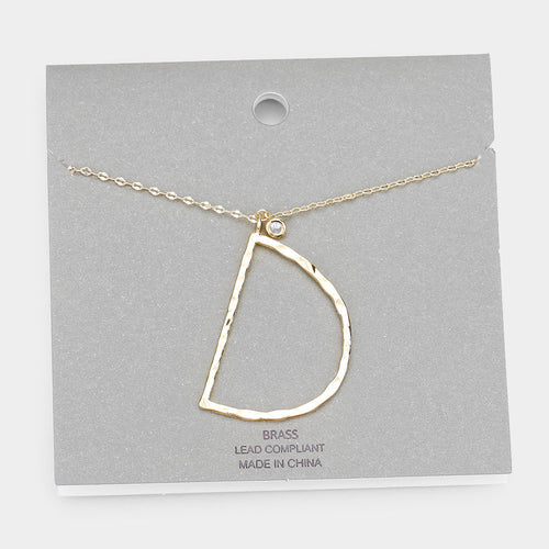 Brass D Monogram Metal Pendant Long Necklace