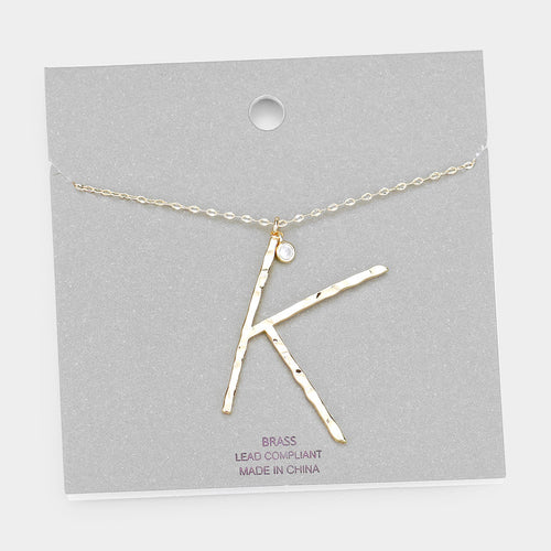 Brass K Monogram Metal Pendant Long Necklace