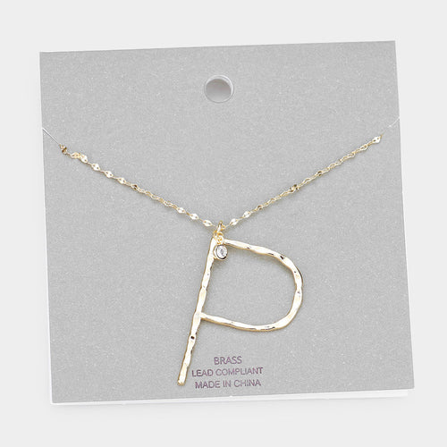 Brass P Monogram Metal Pendant Long Necklace