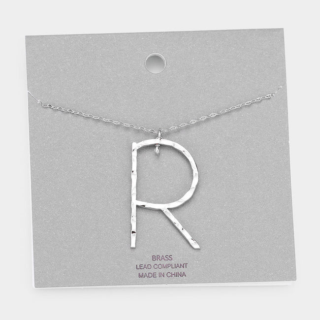 Brass R Monogram Metal Pendant Long Necklace