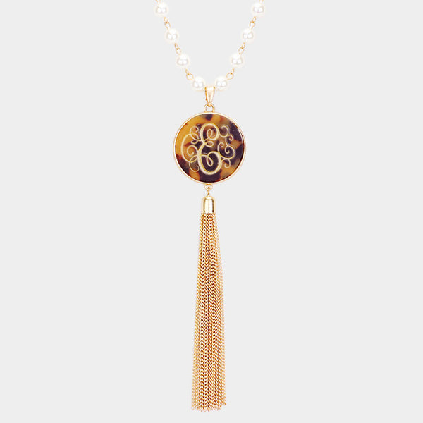 E Monogram Pearl Metal Tassel Necklace