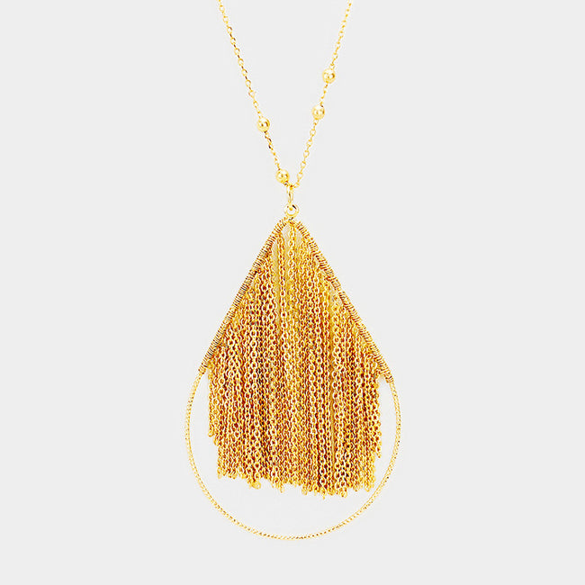 Metal Chain Fringe Teardrop Hoop Pendant Long Necklace