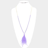 Beaded Feather Pendant Long Necklace