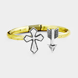 Metal Cross Arrow Hinged Cuff Bracelet