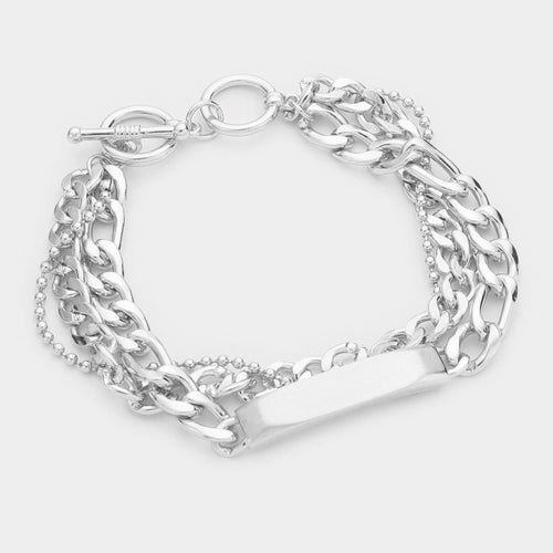 Metal Id Bar Accented Triple Layered Chain Toggle Bracelet