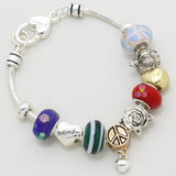 Multi Bead Love Flower Charm Bracelet