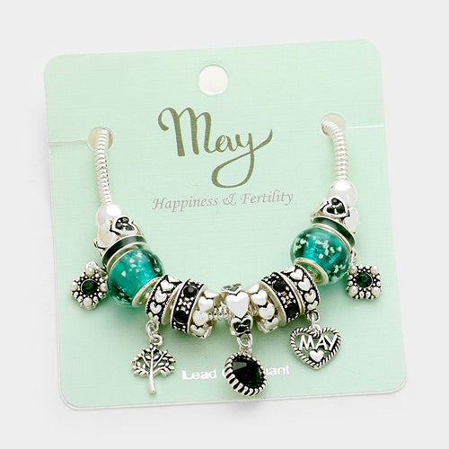 May _ Multi-bead Birthstone Heart Charm Bracelet