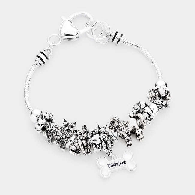Multi Bead Dog Mom Charm Metal Bracelet