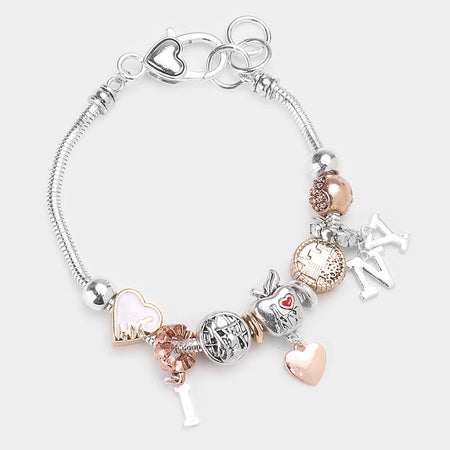 Metal Heart Locket Charm Bracelet