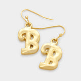 B Letter Monogram Earrings