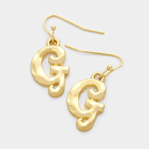 G Letter Monogram Earrings