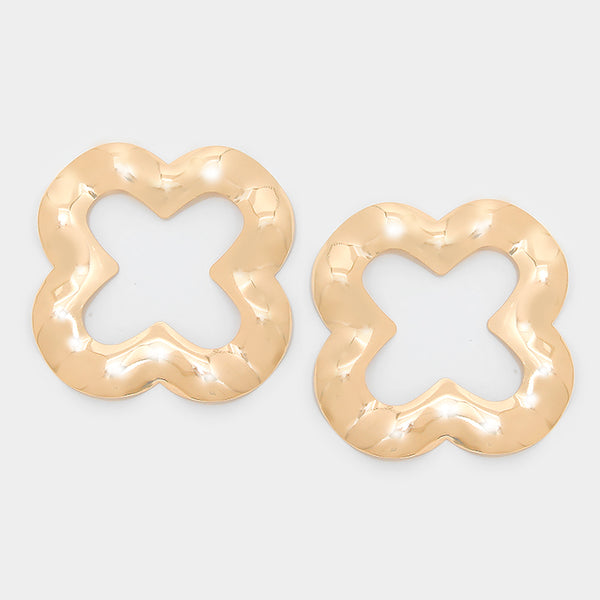 Metal Quatrefoil Clover Earrings