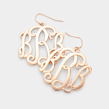 -a- White Gold Dipped Metal Monogram Stud Earrings