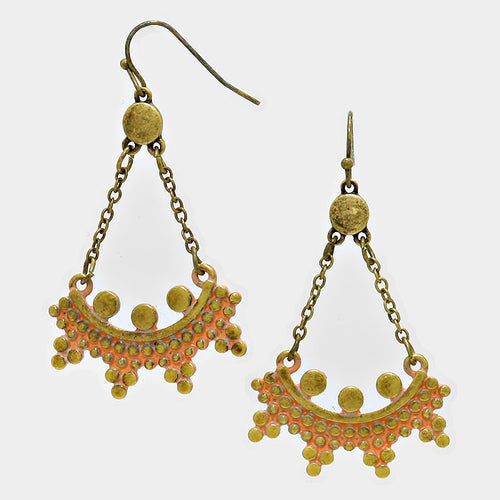 Embossed Metal Swing Earrings