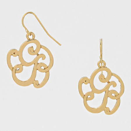 K Script Monogram Earrings