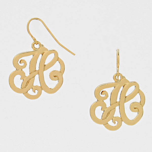 H Script Monogram Earrings