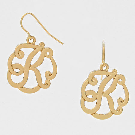 E Script Monogram Earrings
