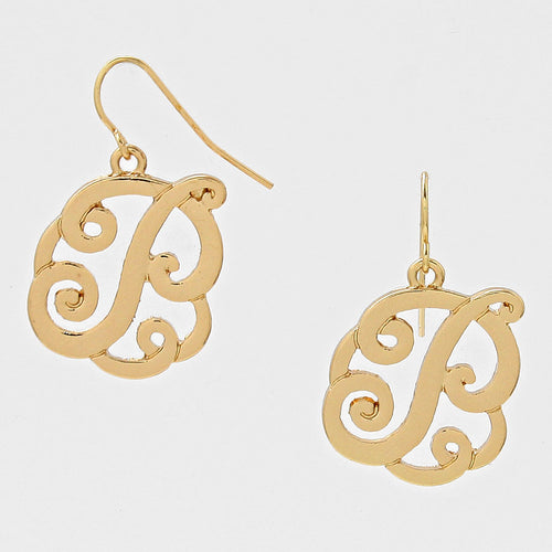 P Script Monogram Earrings