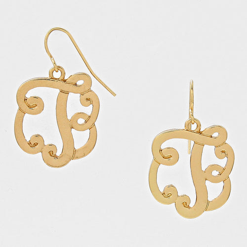 T Script Monogram Earrings