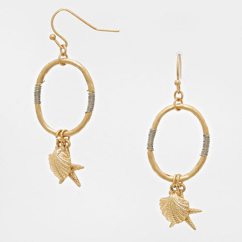 Metal Starfish & Shell Charm Hoop Earrings