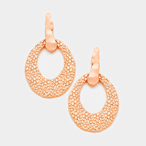 Embossed Cut Out Metal Oval Dangle Earrings