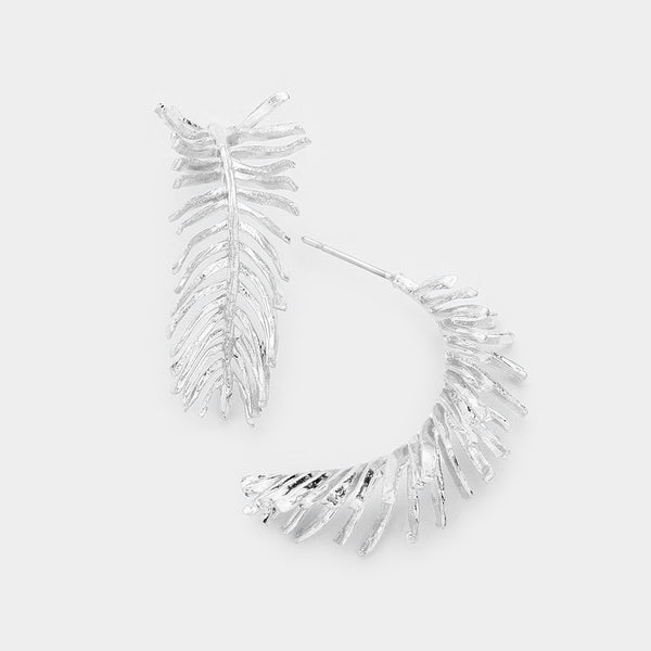 Feather Metal Hoop Earrings