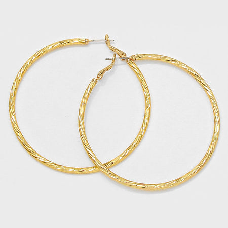 Silver Bent Edge Hoops