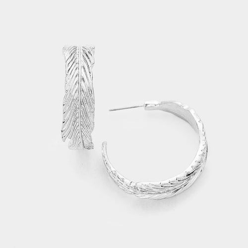Metal Leaf Half Hoop Earrings