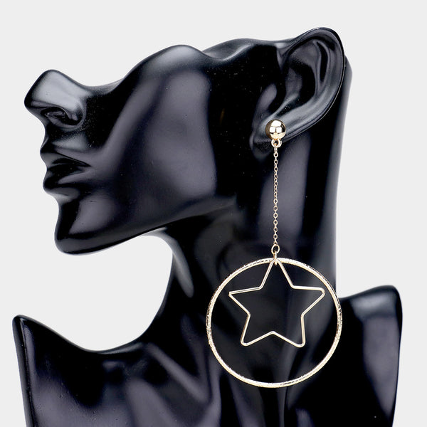 Oversized Cut Out Star Accented Metal Hoop Drop Earrings