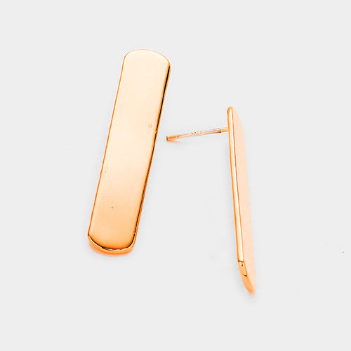 Gold Dipped Metal Bar Earrings