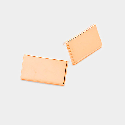 Gold Dipped Rectangle Metal Stud Earrings