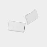 White Gold Dipped Rectangle Metal Stud Earrings