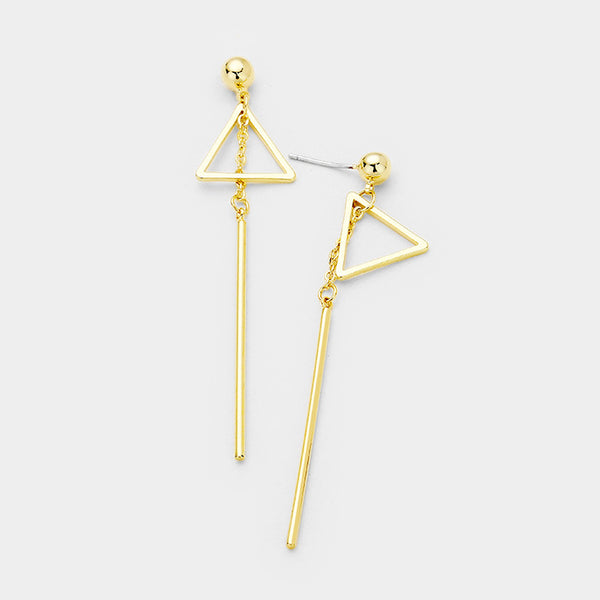 Gold Dipped Geometric Metal Triangle Bar Link Earrings