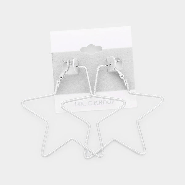 14k White Gold Filled Metal Star Earrings