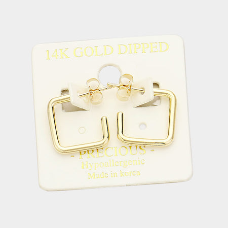 14k Gold Dipped Crystal Bar Stud Earrings With Secret Box
