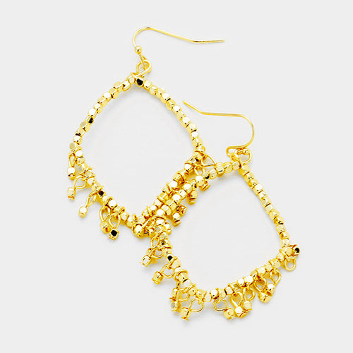 Metal Cube Beaded Diamond Shaped Dangle Earrings