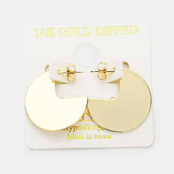 14k Gold Dipped Hypoallergenic Round Cut Out Earrings
