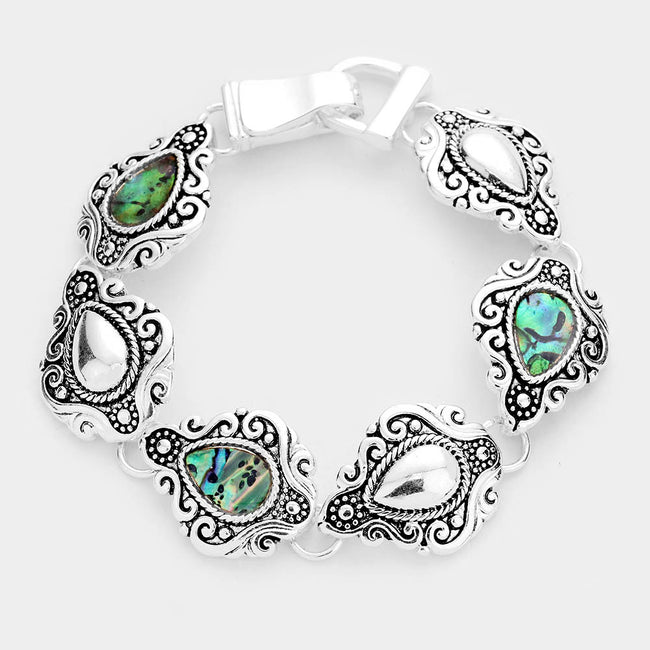 Abalone Stone Embossed Antique Silver Magnetic Bracelet