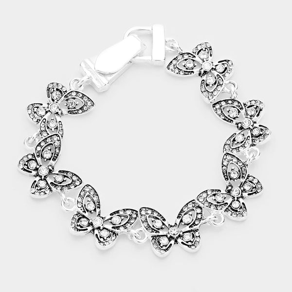 Crystal Embellished Butterfly Linked Magnetic Bracelet