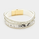Crystal Pave Faux Leather Wrap Bracelet