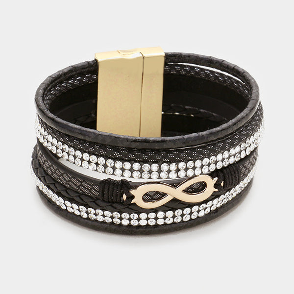 Crystal Pave Infinity Faux Leather Wrap Bracelet