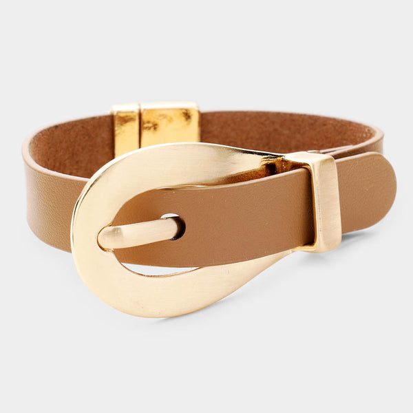 Belt Buckle Faux Leather Magnetic Bracelet