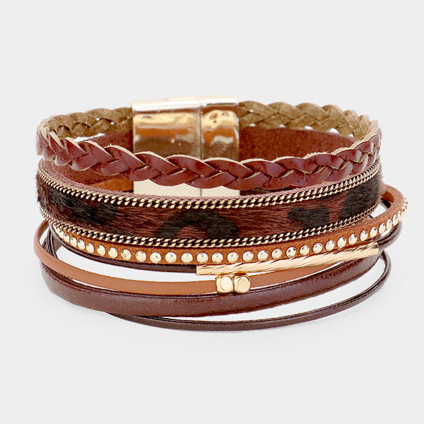 7Row Strand Crystal Leather Magnetic Closure Bracelet